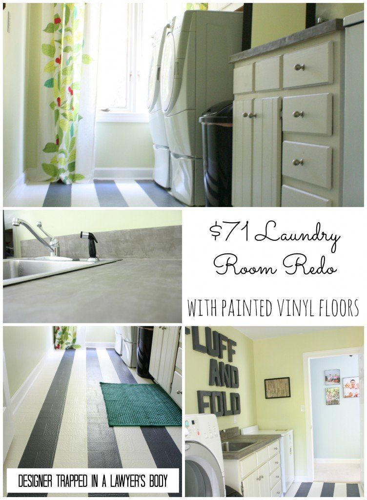 Thrifty laundry room renovation with painted vinyl floors by Designer Trapped in a Lawyer's Body {designertrapped.com}