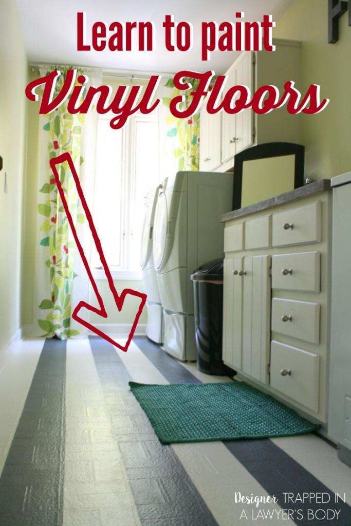 Painting Vinyl Flooring! AWESOME! Learn how to paint vinyl floors with this full tutorial. #paintvinylfloors #paintedfloors