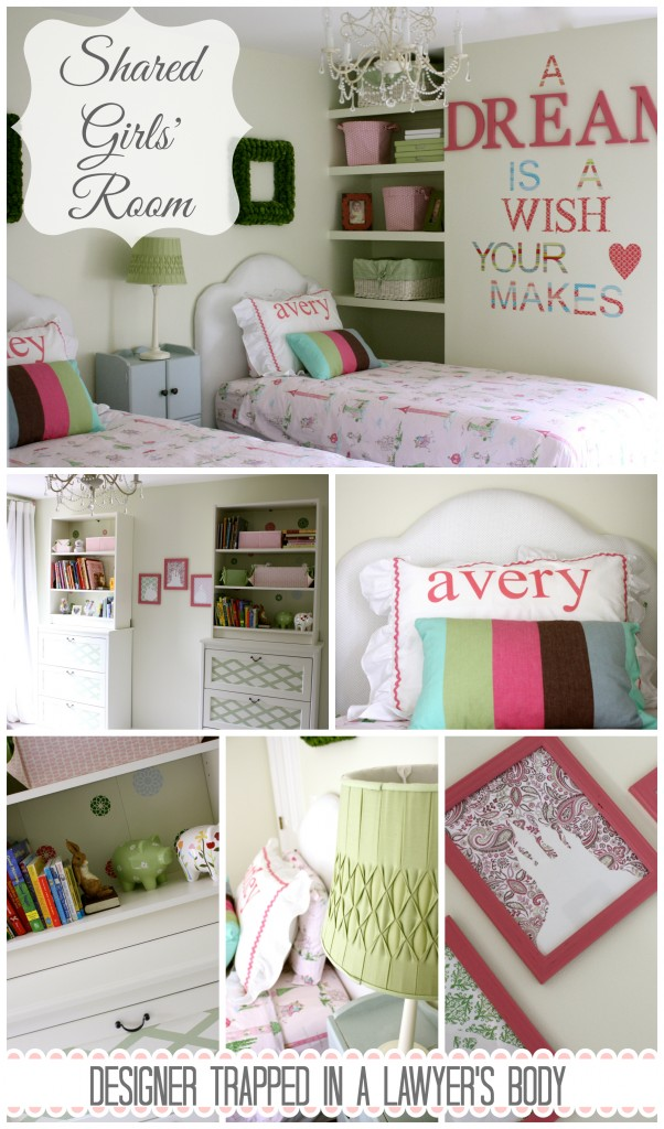 A tasteful princess, shared girls' room by Designer Trapped in a Lawyer's Body {designertrapped.com}