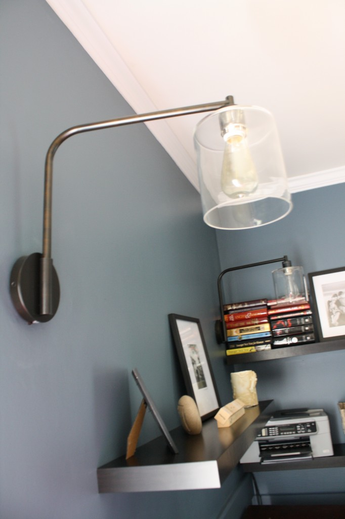 West Elm Lens Sconce used in contemporary family room by Designer Trapped in a Lawyer's Body {www.designertrapped.com}