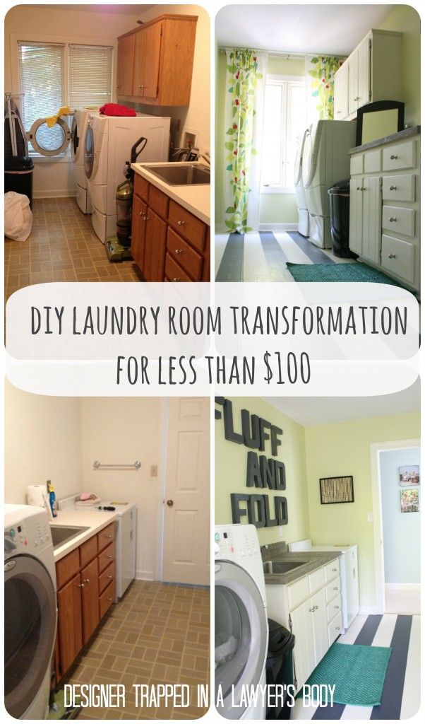 Thrifty Laundry Room Renovation by Designer Trapped in a Lawyer's Body {designertrapped.com}