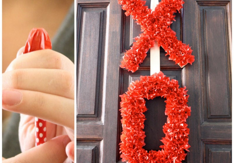 THIS IS SO CUTE! Come learn how to make a Valentine's Day wreath using tissue paper! Full tutorial by Designer Trapped in a Lawyer's Body.