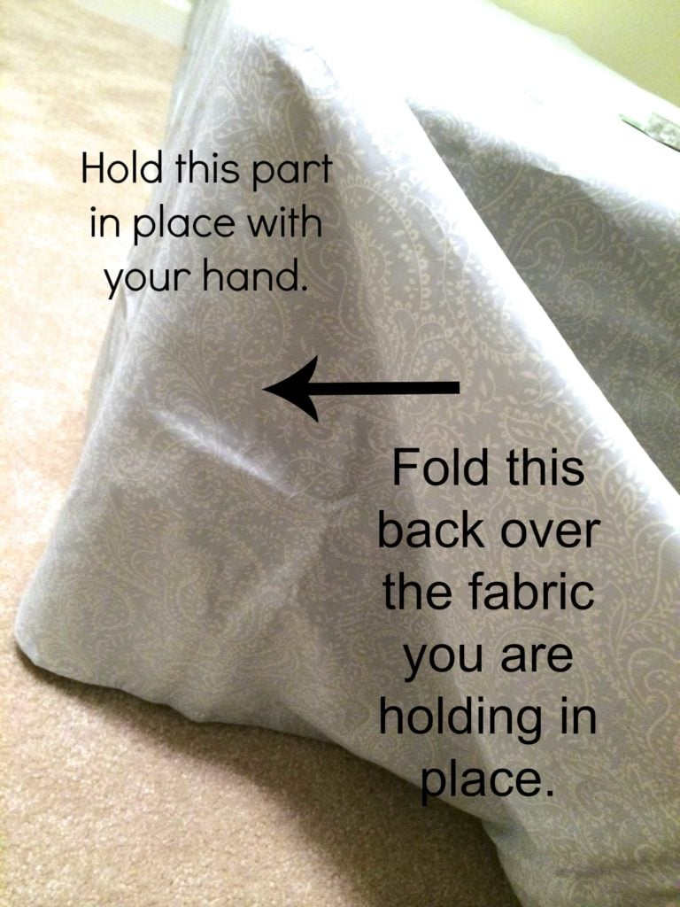 Make a bed skirt with NO SEWING and NOT CUTTING! No-sew bedskirt tutorial by Designer Trapped in a Lawyer's Body {designertrapped.com}