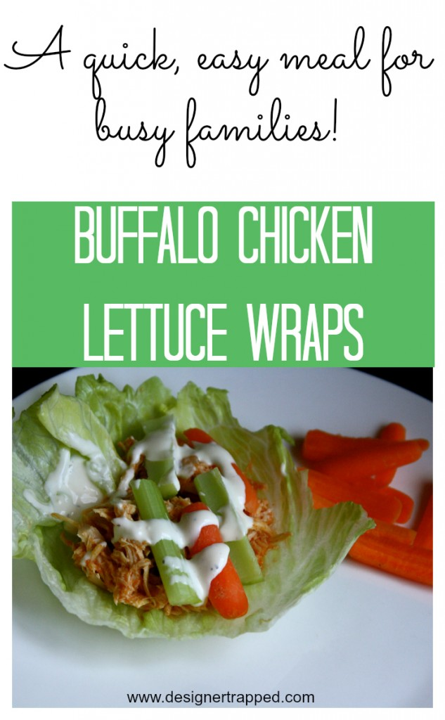 Easy, nutritious CROCK POT Buffalo Chicken Lettuce Wraps by Designer Trapped in a Lawyer's Body {designertrapped.com}