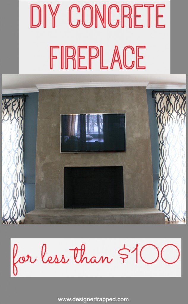 DIY Concrete Fireplace tutorial using Ardex Feather Finish by Designer Trapped in a Lawyer's Body {designertrapped.com}