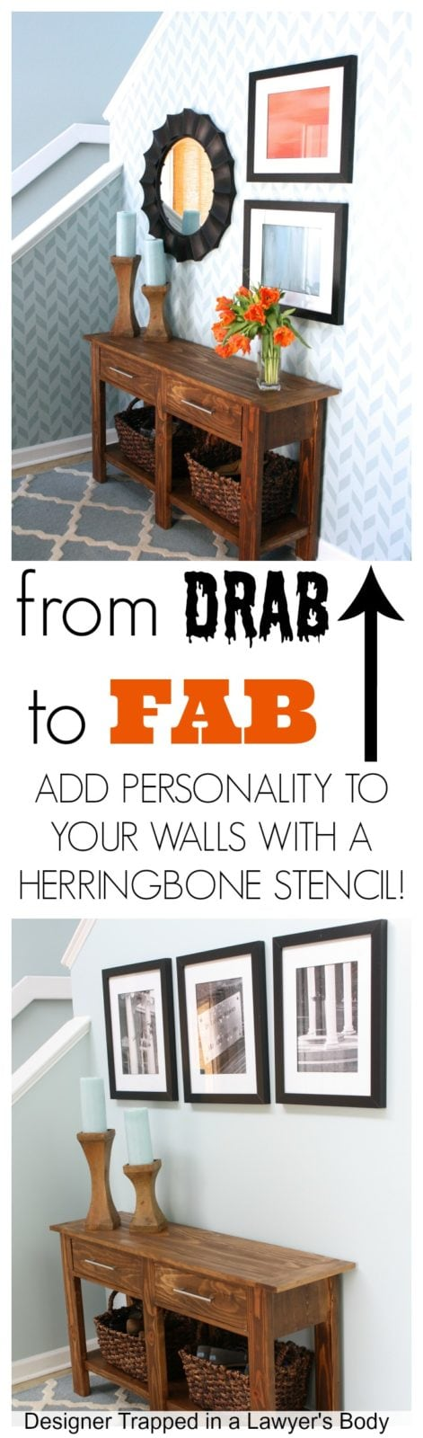 DIY Herringbone Stenciled Wall by Designer Trapped in a Lawyer's Body {designertrapped.com}