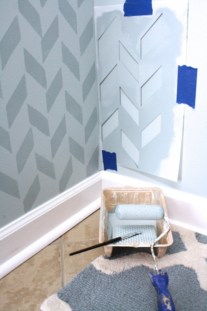 Herringbone Wall by Designer Trapped in a Lawyer's Body {designertrapped.com}