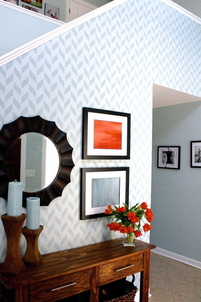 Herringbone Stenciled Wall by Designer Trapped in a Lawyer's Body {designertrapped.com}