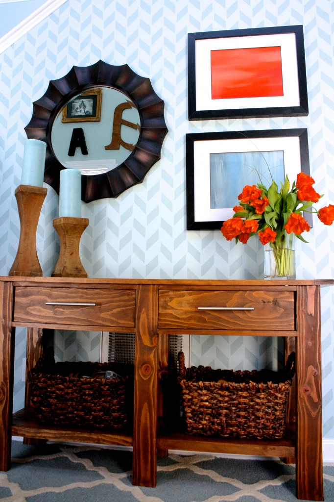 Herringbone Stenciled Wall by Designer Trapped in a Lawyer's Body {www.designertrapped.com}