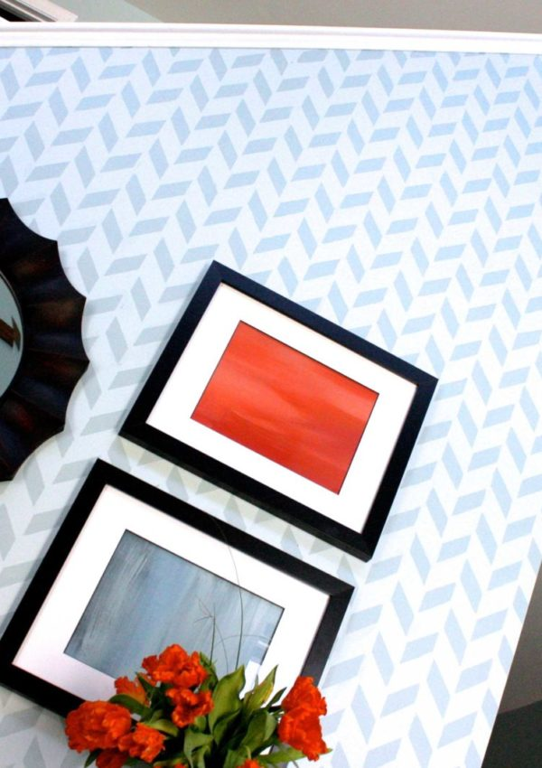 My BOLD Herringbone Stenciled Wall