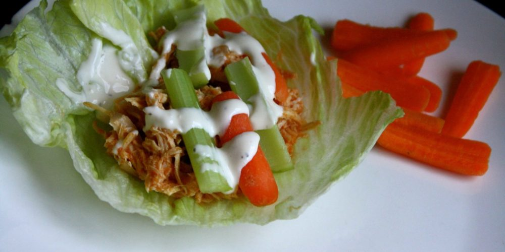 DELICIOUS Crock Pot Buffalo Chicken Lettuce Wraps!
