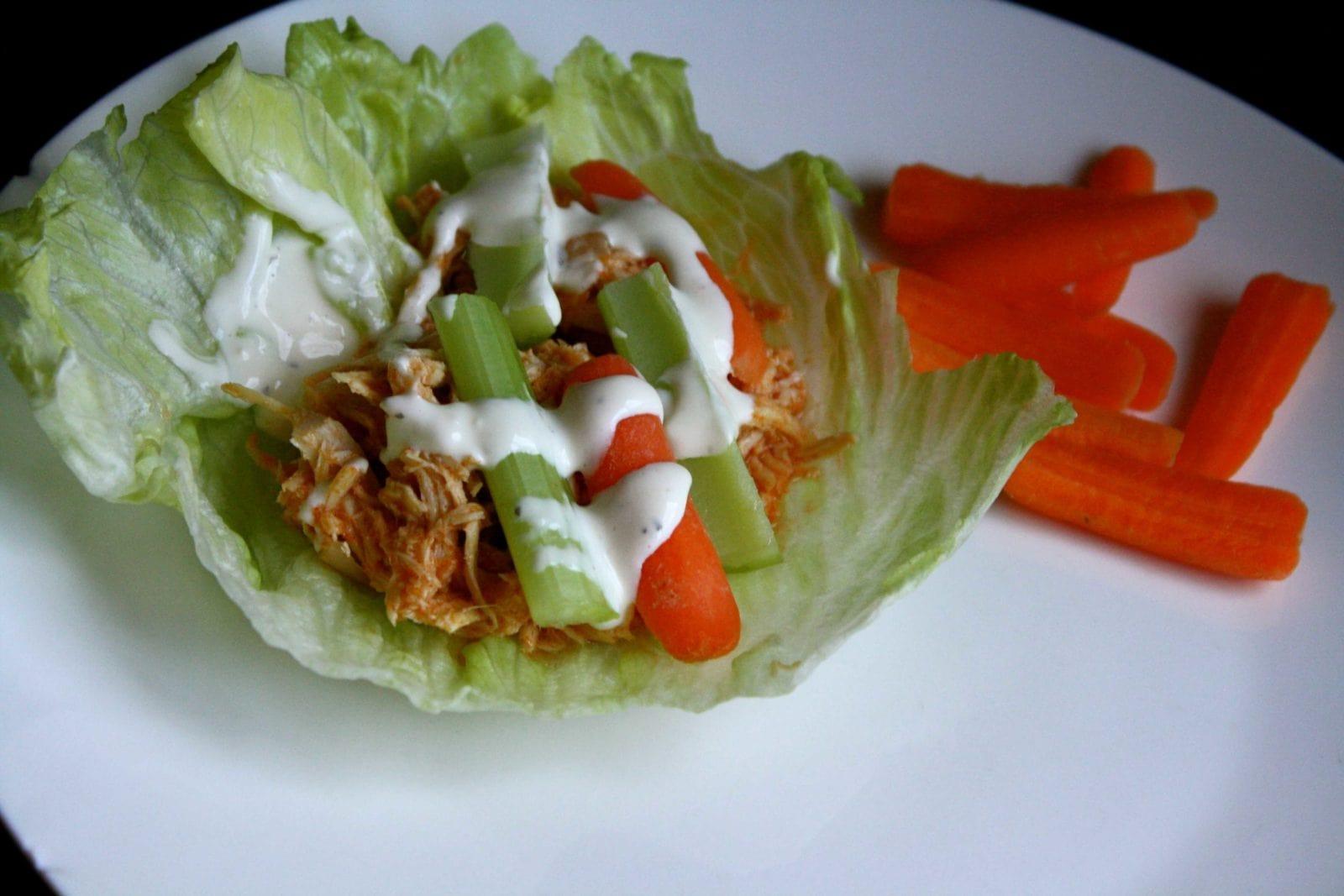 DELICIOUS Crock Pot Buffalo Chicken Lettuce Wraps!