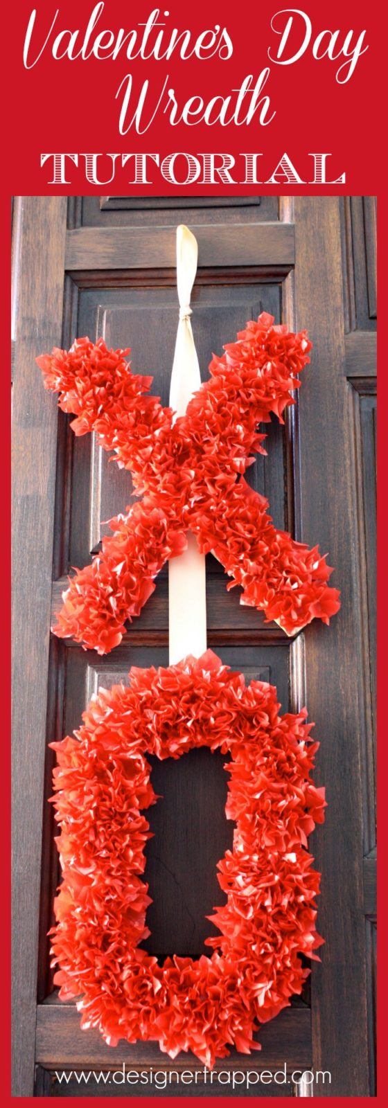 Tissue Paper Valentine's Day Wreath Tutorial by Designer Trapped in a Lawyer's Body {designertrapped.com}