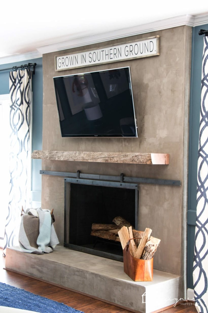 concrete fireplace makeover