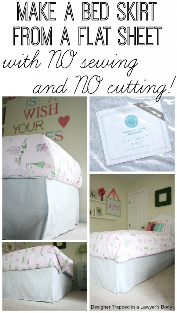 DIY bed skirt from a flat sheet. Full tutorial by Designer Trapped in a Lawyer's Body {designertrapped.com}