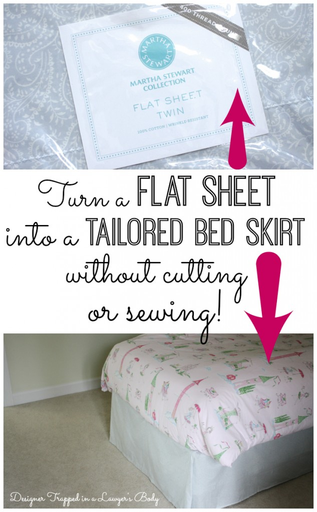 DIY no-sew bed skirt tutorial by Designer Trapped in a Lawyer's Body {designertrapped.com}