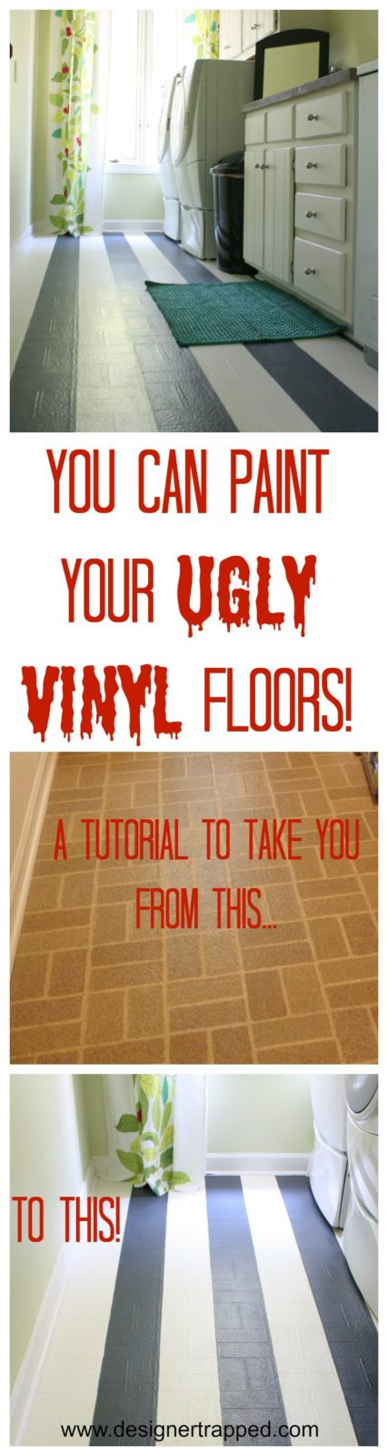 Learn to Paint Vinyl Floors! A detailed tutorial by Designer Trapped in a Lawyer's Body {designertrapped.com}
