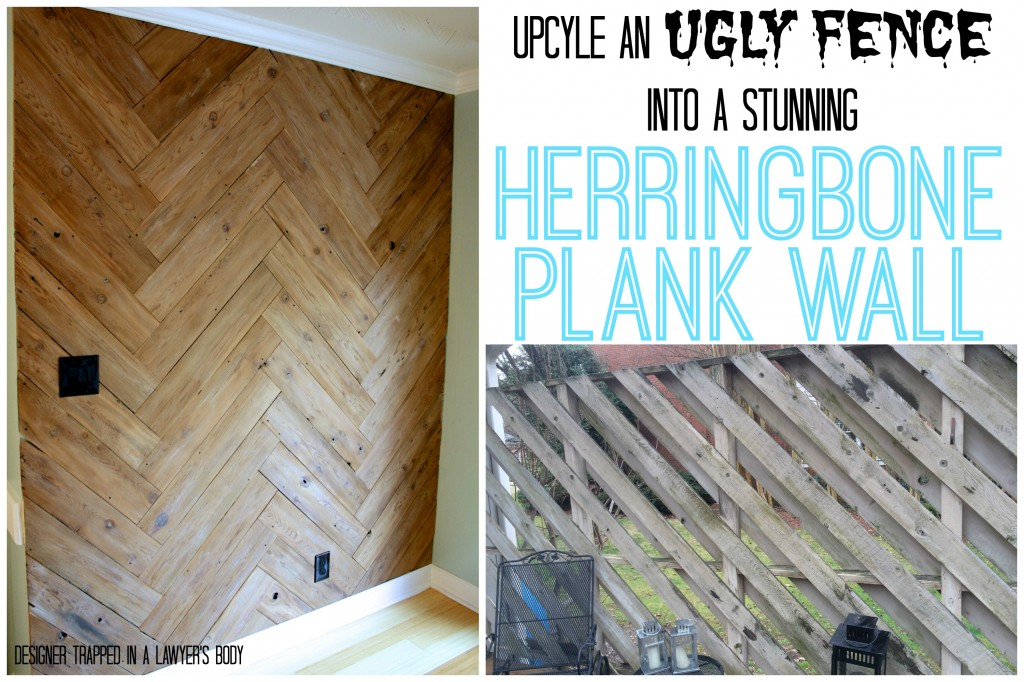 MUST PIN!  Upcyle an old fence into a herringbone plank wall!  Full tutorial by Designer Trapped in a Lawyer's Body!