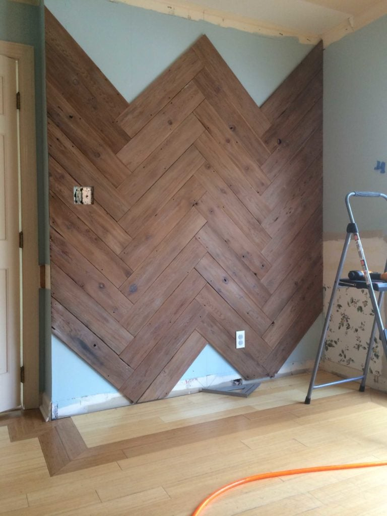 MUST PIN!  DIY Wood Herringbone Wall by Designer Trapped in a Lawyer's Body.  Full tutorial!