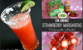 Semi-homemade Strawberry Margaritas by Designer Trapped in a Lawyer's Body! #quickcocktail