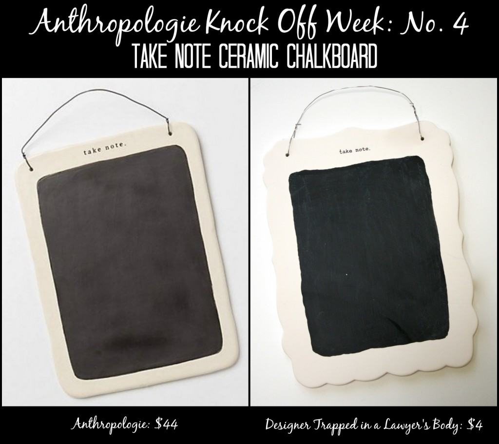 MUST PIN! Fabulous Anthroplogie knock off: Take Note Ceramic Chalkboard. Full tutorial by Designer Trapped in a Lawyer's Body. #anthropologieknockoff