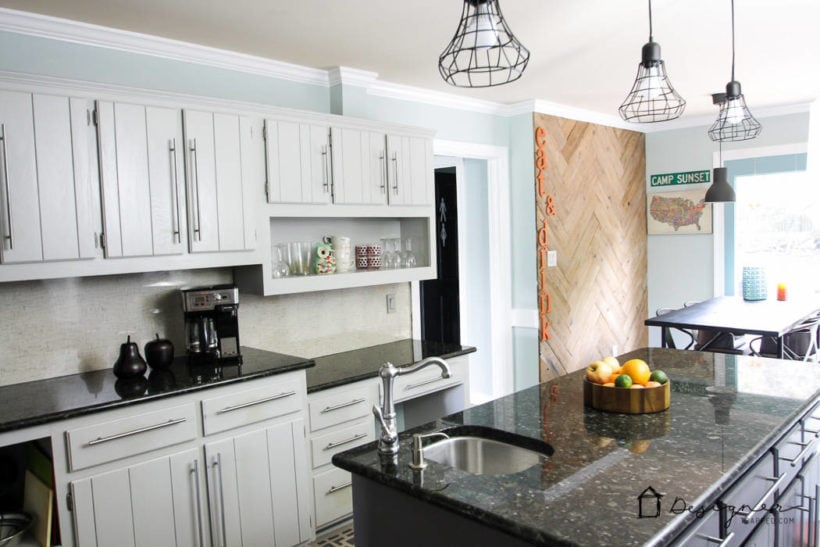 kitchen with plank wall