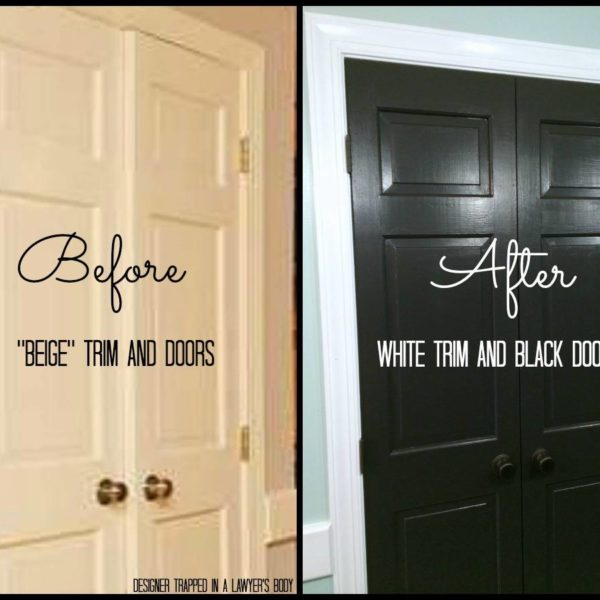 Painted trim and doors can make a HUGE impact! Full details by Designer Trapped in a Lawyer's Body {designertrapped.com}