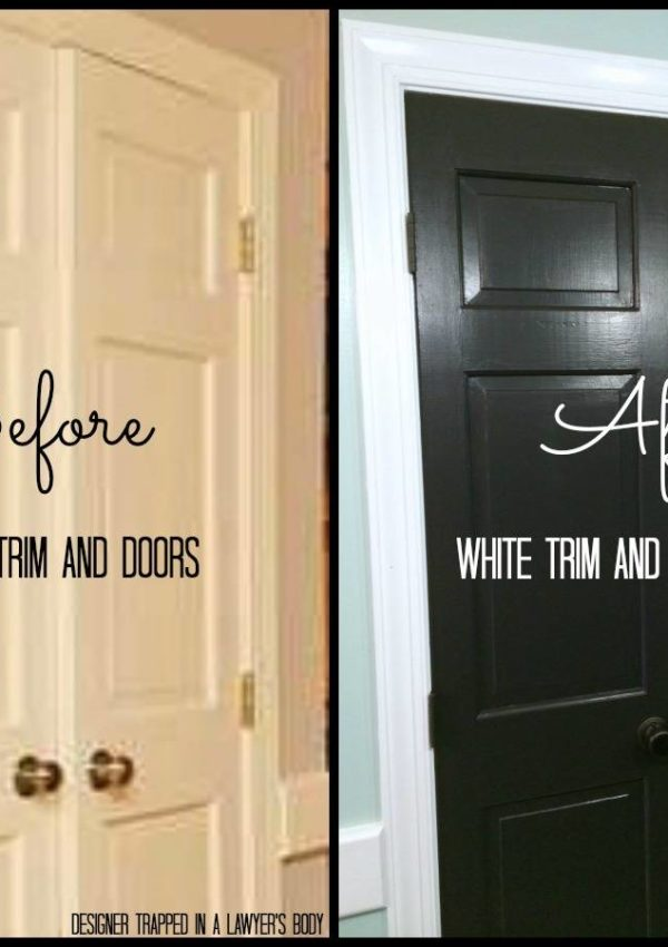 Easy, high impact painting project {black doors and white trim, oh my!}