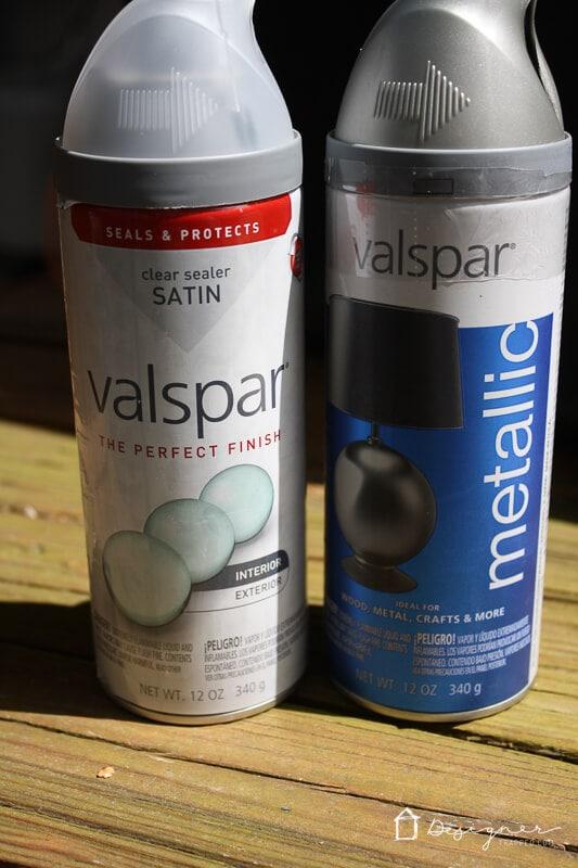 Valspar metallic spray paint and top coat