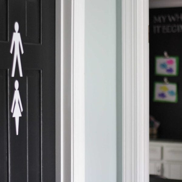 LOVE these cute bathroom signs! Funny, cute and functional--you no longer have to tell guests where your powder room is!