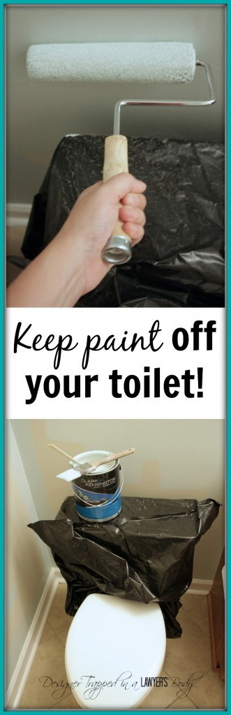 GENIUS! Tip for painting around a toilet by Designer Trapped in a Lawyer's Body. #paintingtips