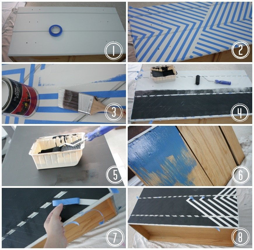 how to paint a dresser with geometric lines