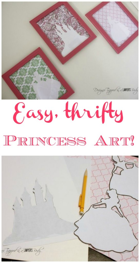 Easy, DIY princess wall art by Designer Trapped in a Lawyer's Body for All Things Thrifty!