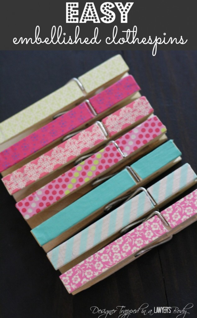LOVE clothespin crafts! Super easy washi tape clothespins by Designer Trapped in a Lawyer's Body! #clothespincrafts