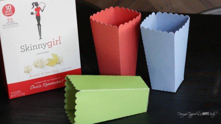 How fun! DIY popcorn boxes--full tutorial. #SkinnyGirlSnacks #CollectiveBias #shop