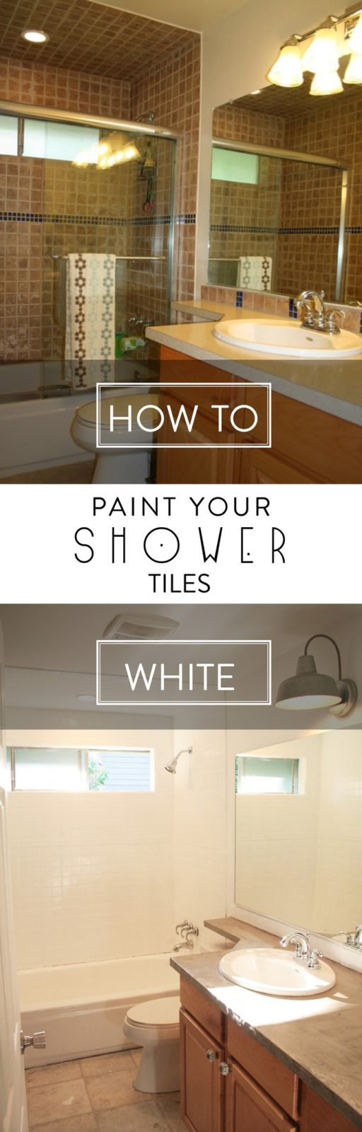 MUST PIN! Learn to paint shower tiles! Transform your shower on a budget! Full tutorial by Petite Modern Life for Designer Trapped in a Lawyer's Body.