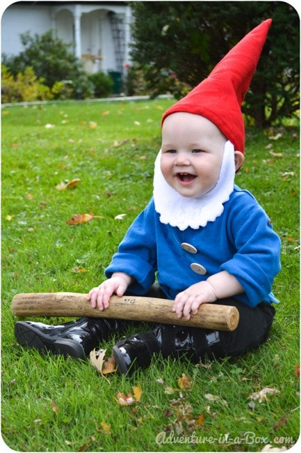 DIY toddler gnome costume