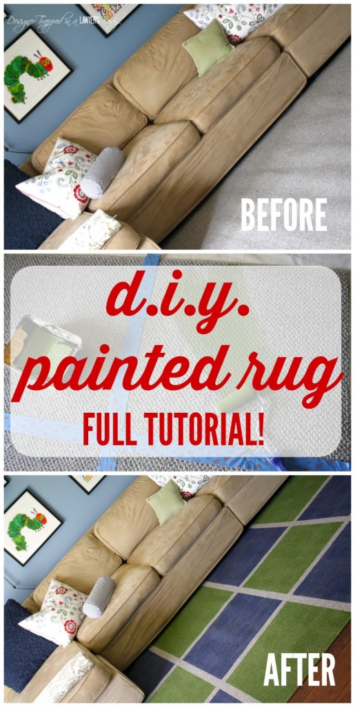 THIS IS AWESOME! Learn how to paint a rug for a high end look on a tiny budget. Full tutorial from Designer Trapped in a Lawyer's Body!