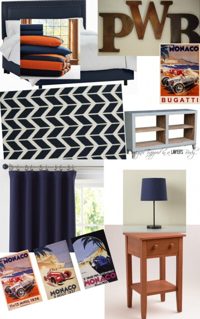 LOVE THIS mood board featuring bold orange and navy boy room decor ideas. Check out the details, including a source list, from Designer Trapped in a Lawyer's Body!
