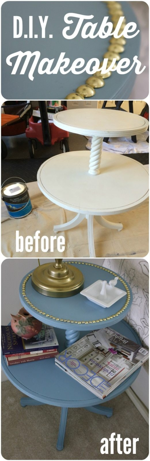 WOW! Update a sad table with paint and nail heads for next to nothing! Full details from Designer Trapped in a Lawyer's Body. #sponsored
