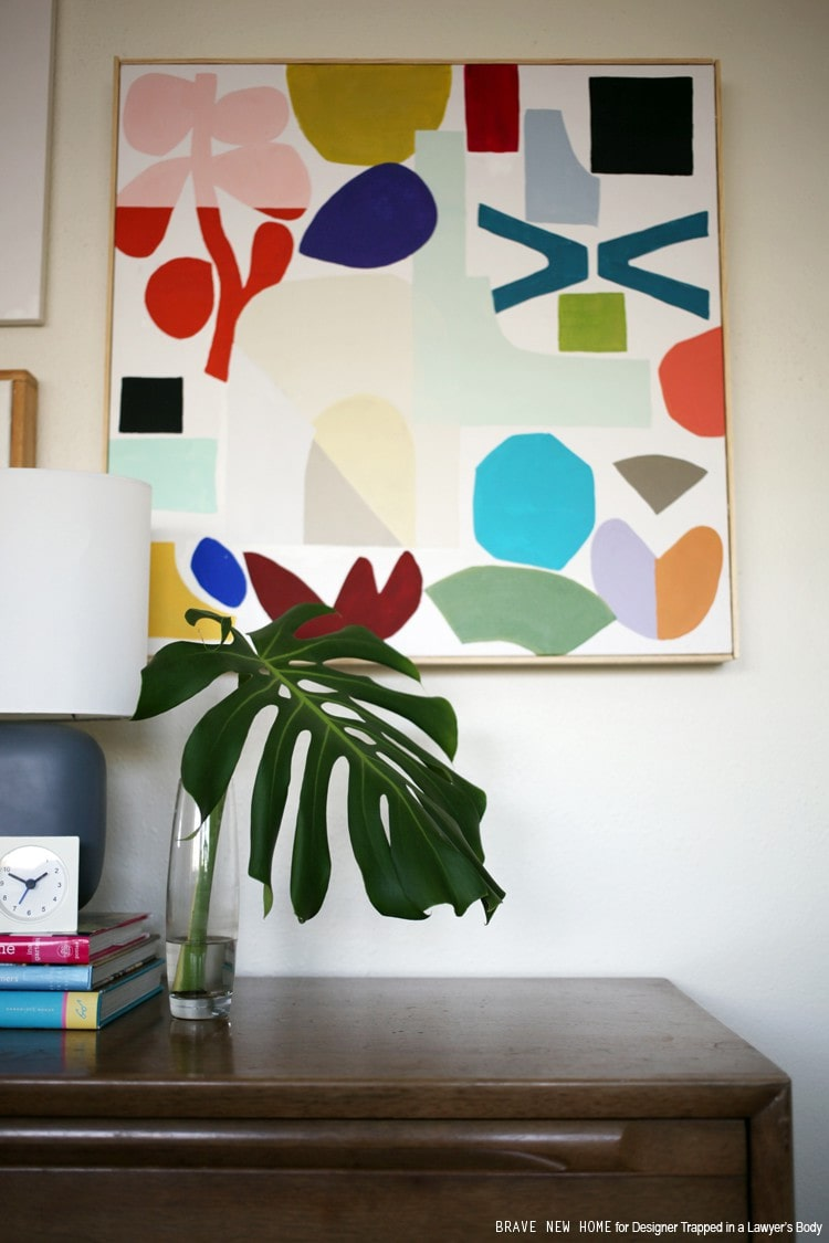 An easy tutorial to create graphic art that is colorful and fun to make with your kids! Top it off with a DIY frame. Full tutorial by Brave New Home for Designer Trapped in a Lawyer's Body.