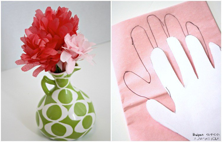 SO SWEET! These handprint flowers made from tissue paper are PERFECT for Mother's Day. You use your child's handprint as the template. Perfect for the mom's or grandmother's in your life! Full tutorial from Designer Trapped in a Lawyer's Body.