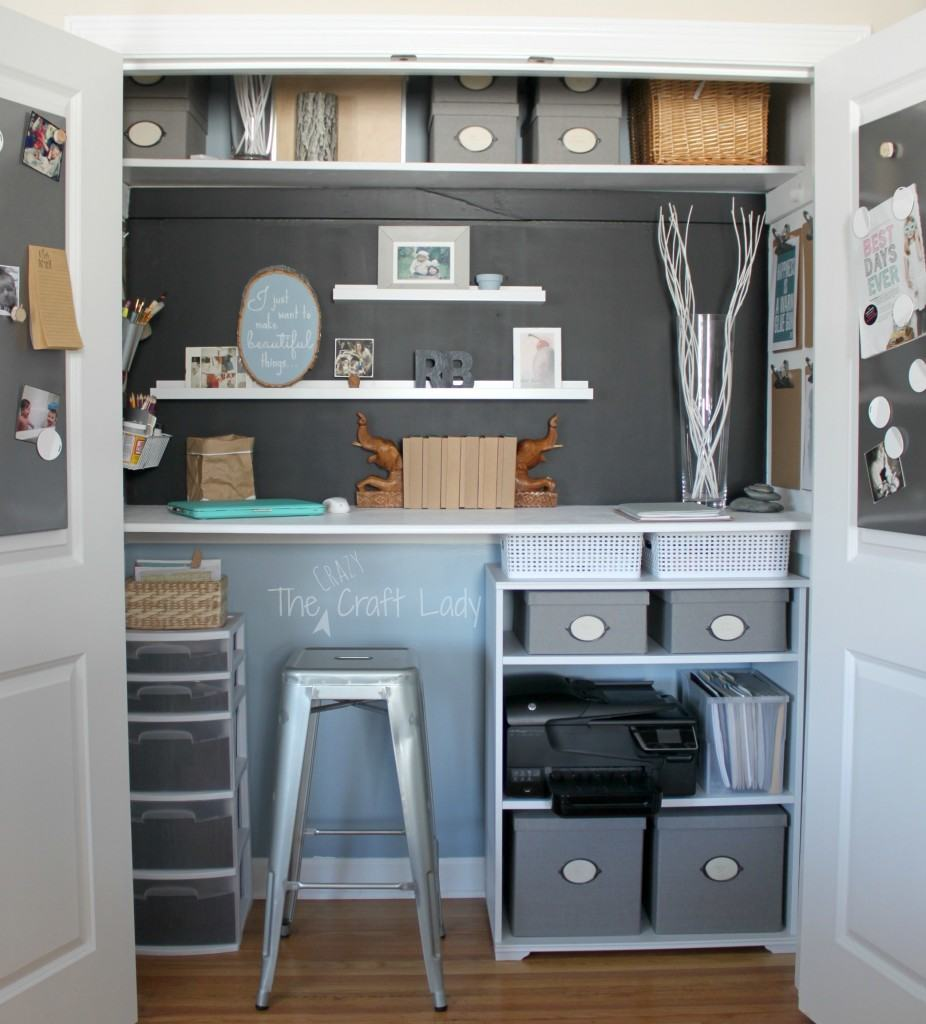 Home office in a closet from The Crazy Craft Lady
