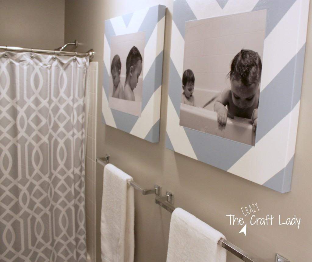 Use bath time photos for bathroom wall art with this tutorial for DIY canvas prints