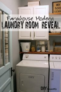 A builder-grade laundry room gets some Awesome Farmhouse Charm for under $200! All the details are at DIY beautify!