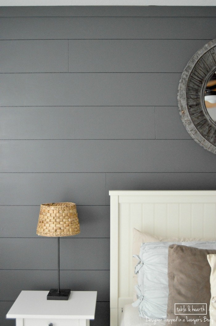 SO PRETTY! Add a focal point and interest to your room in just a weekend with this EASY tutorial for installing your own DIY plank wall by Table & Hearth for Designer Trapped in a Lawyer's Body!