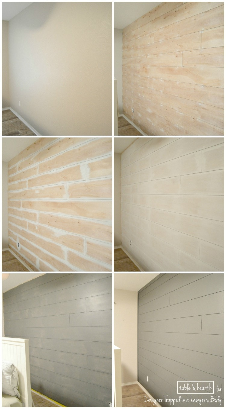plank wall before and after