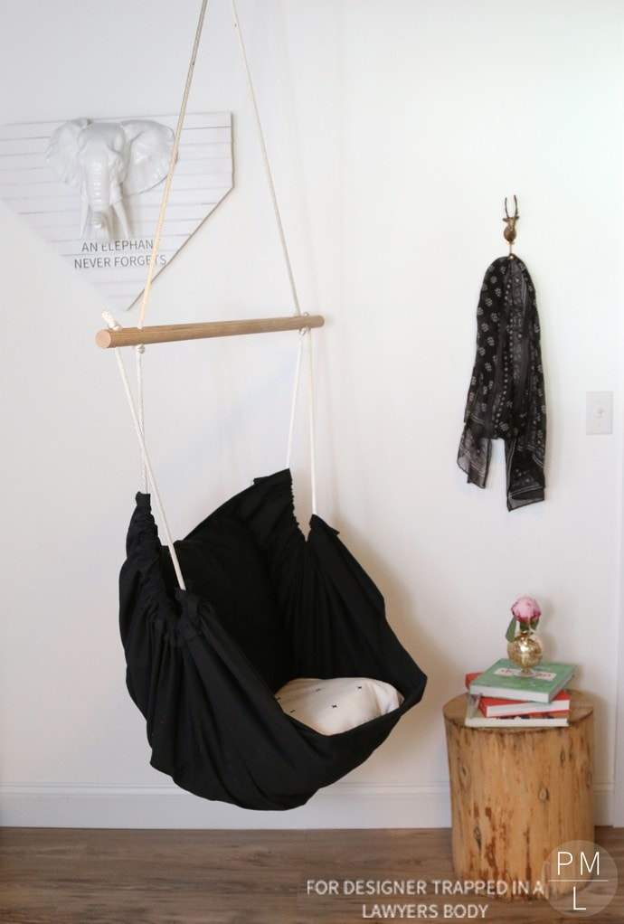 GENIUS!!! This DIY hammock chair is such a fun, easy, and inexpensive addition to any room in need of a little extra relaxation! |Petite Modern Life for Designer Trapped in a Lawyer's Body.