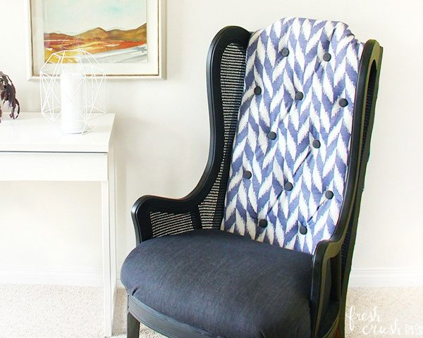 Learn How to Upholster a Chair ~ Cane Wingback Chair Makeover