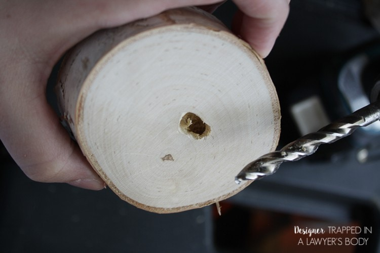 Then, drill a hole in the middle of the TOP of the wood slice.